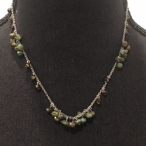 """18"""" Silver Necklace with Green Stones"""